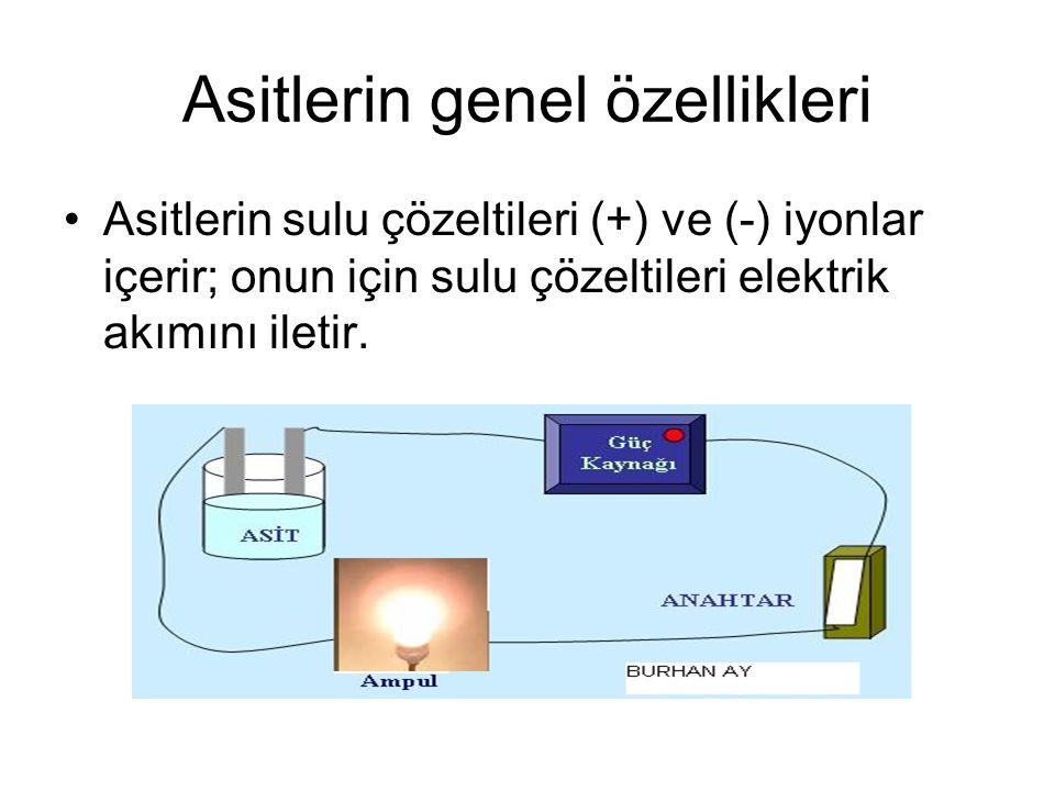 Asitlerin sulu çözeltileri (+) ve (-) iyonlar içerir; onun için sulu çözeltileri elektrik akımını iletir.