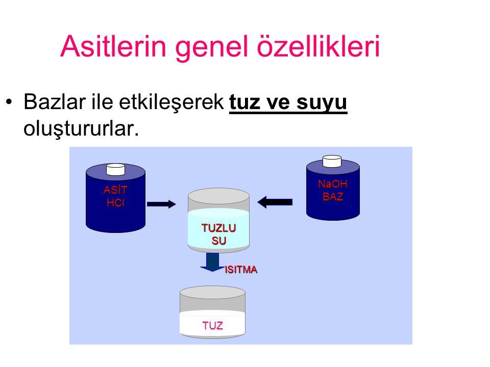 Asitlerin genel özellikleri Bazlar ile etkileşerek tuz ve suyu oluştururlar. ASİT HCl TUZLU SU NaOHBAZ TUZ