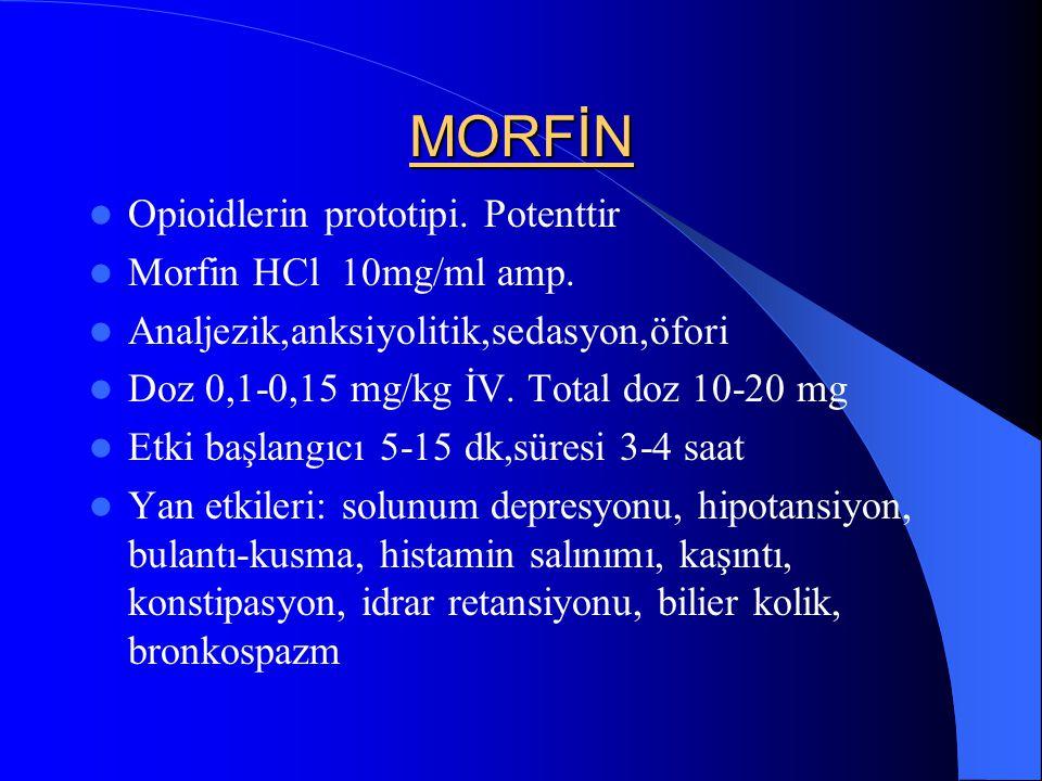 MORFİN Opioidlerin prototipi. Potenttir Morfin HCl 10mg/ml amp. Analjezik,anksiyolitik,sedasyon,öfori Doz 0,1-0,15 mg/kg İV. Total doz 10-20 mg Etki b