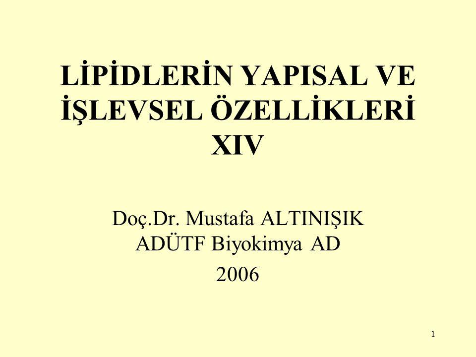 1 LİPİDLERİN YAPISAL VE İŞLEVSEL ÖZELLİKLERİ XIV Doç.Dr. Mustafa ALTINIŞIK ADÜTF Biyokimya AD 2006