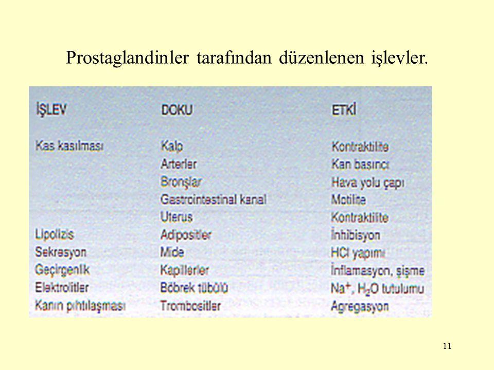 11 Prostaglandinler tarafından düzenlenen işlevler.