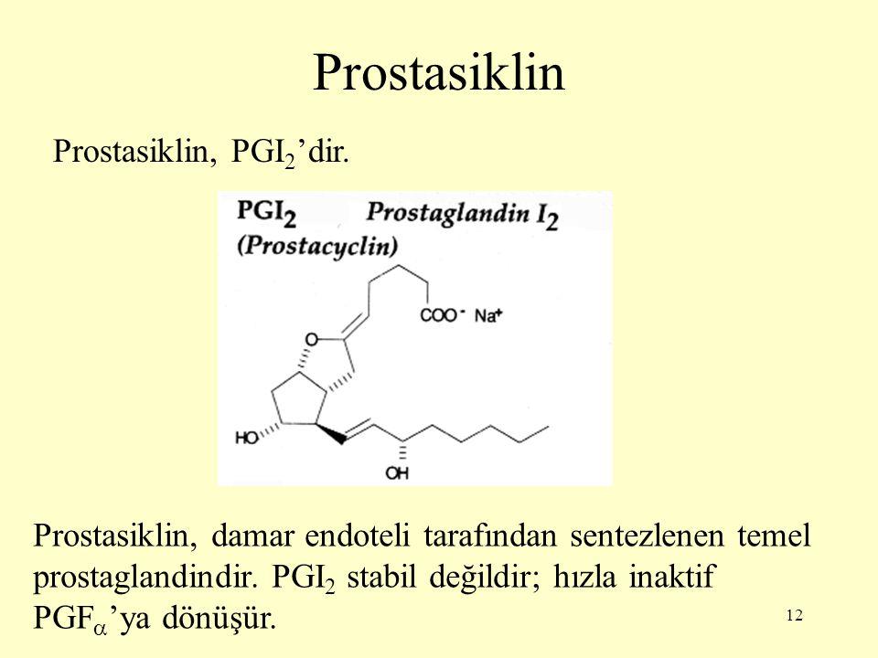 12 Prostasiklin Prostasiklin, PGI 2 'dir.