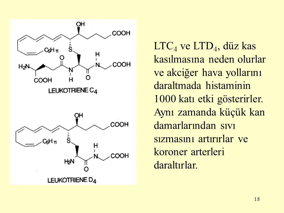 18 LTC 4 ve LTD 4, düz kas kasılmasına neden olurlar ve akciğer hava yollarını daraltmada histaminin 1000 katı etki gösterirler.