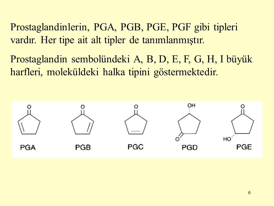 6 Prostaglandinlerin, PGA, PGB, PGE, PGF gibi tipleri vardır.