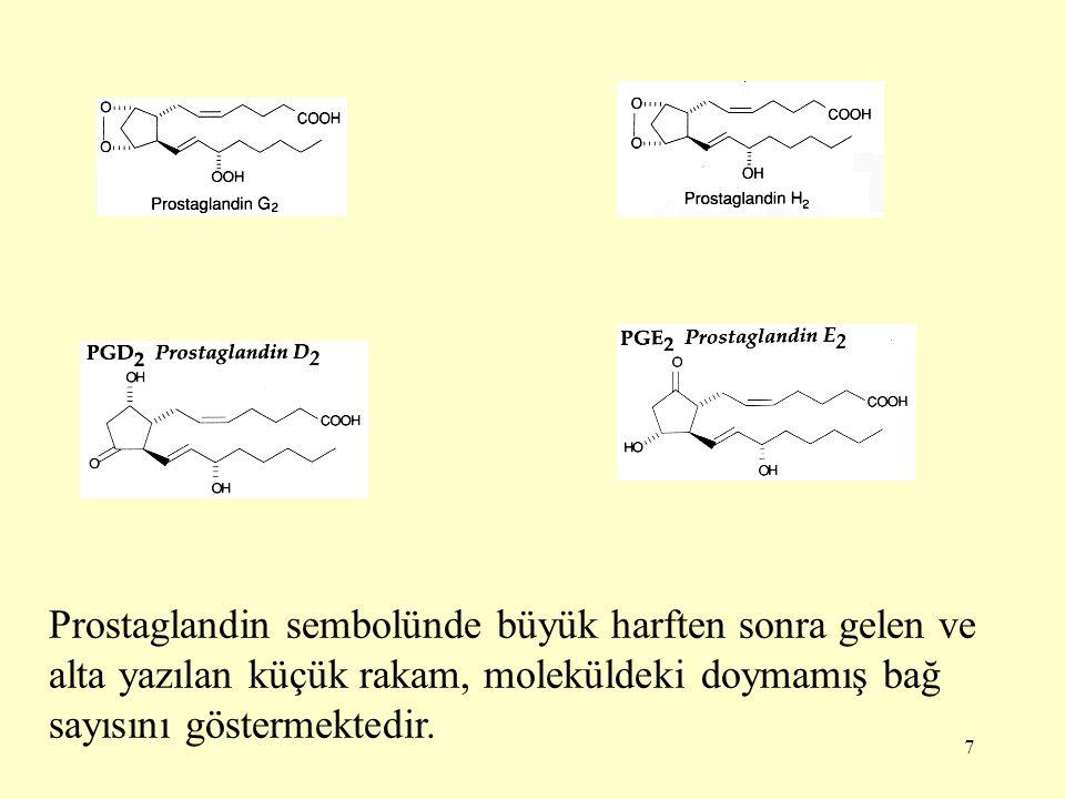 7 Prostaglandin sembolünde büyük harften sonra gelen ve alta yazılan küçük rakam, moleküldeki doymamış bağ sayısını göstermektedir.