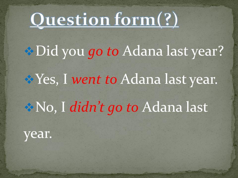  Did you go to Adana last year. Yes, I went to Adana last year.