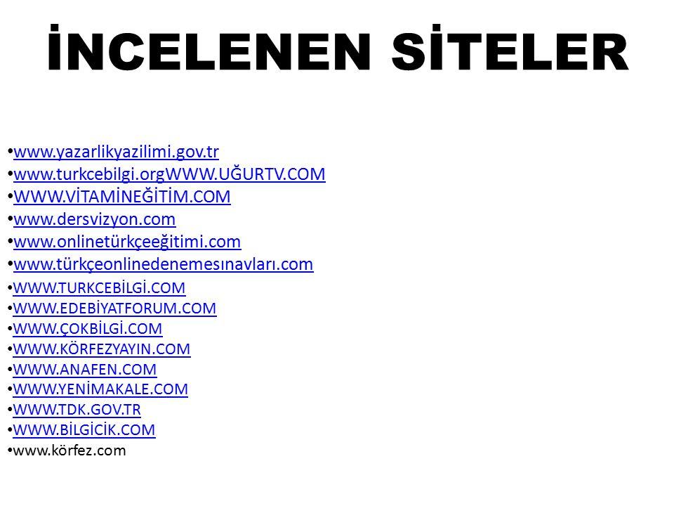 İNCELENEN SİTELER www.yazarlikyazilimi.gov.tr www.turkcebilgi.orgWWW.UĞURTV.COM www.turkcebilgi.orgWWW.UĞURTV.COM WWW.VİTAMİNEĞİTİM.COM www.dersvizyon.com www.onlinetürkçeeğitimi.com www.türkçeonlinedenemesınavları.com WWW.TURKCEBİLGİ.COM WWW.EDEBİYATFORUM.COM WWW.ÇOKBİLGİ.COM WWW.KÖRFEZYAYIN.COM WWW.ANAFEN.COM WWW.YENİMAKALE.COM WWW.TDK.GOV.TR WWW.BİLGİCİK.COM www.körfez.com