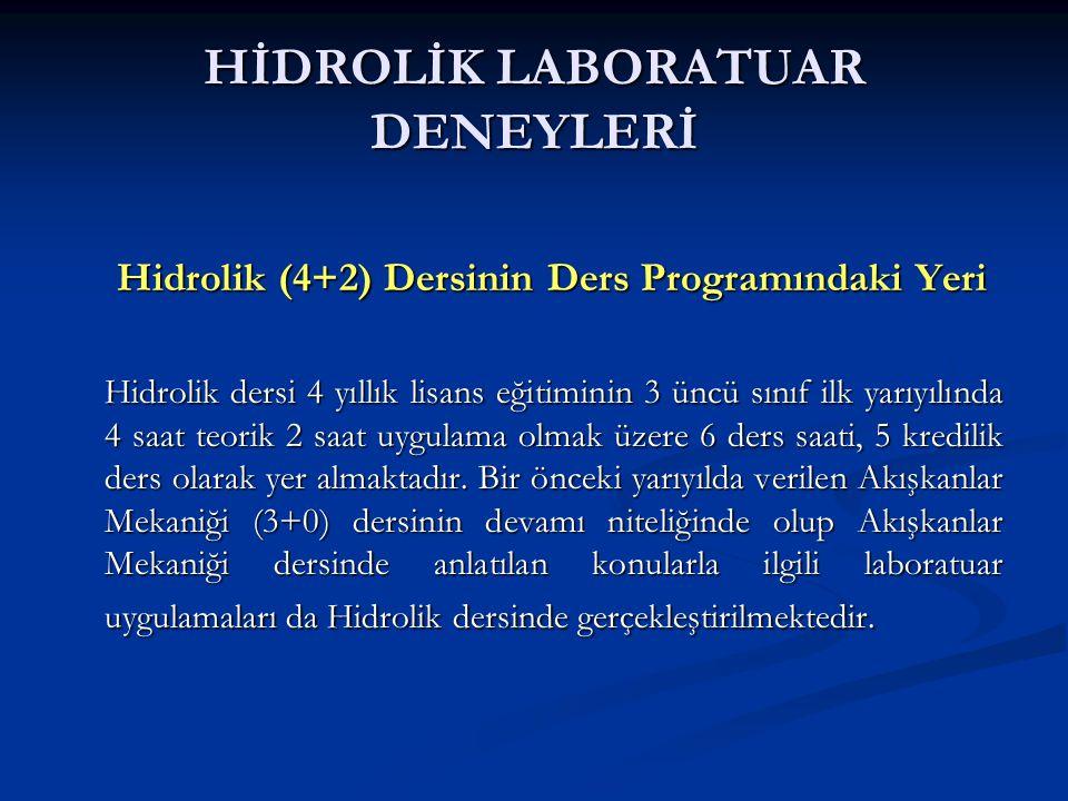 HİDROLİK LABORATUAR DENEYLERİ Hidrolik (4+2) Dersinin Ders Programındaki Yeri Hidrolik (4+2) Dersinin Ders Programındaki Yeri Hidrolik dersi 4 yıllık