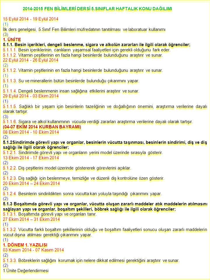 2014-2015 FEN BİLİMLERİ DERSİ 5.SINIFLAR HAFTALIK KONU DAĞILIMI 15 Eylül 2014 - 19 Eylül 2014 (1) İlk ders genelgesi, 5.Sınıf Fen Bilimleri müfredatının tanıtılması ve laboratuar kullanımı (3) 1.