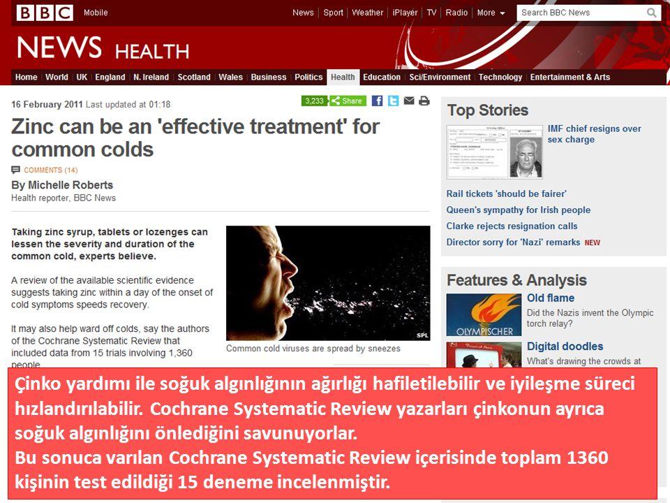 Çinko yardımı ile soğuk algınlığının ağırlığı hafiletilebilir ve iyileşme süreci hızlandırılabilir.
