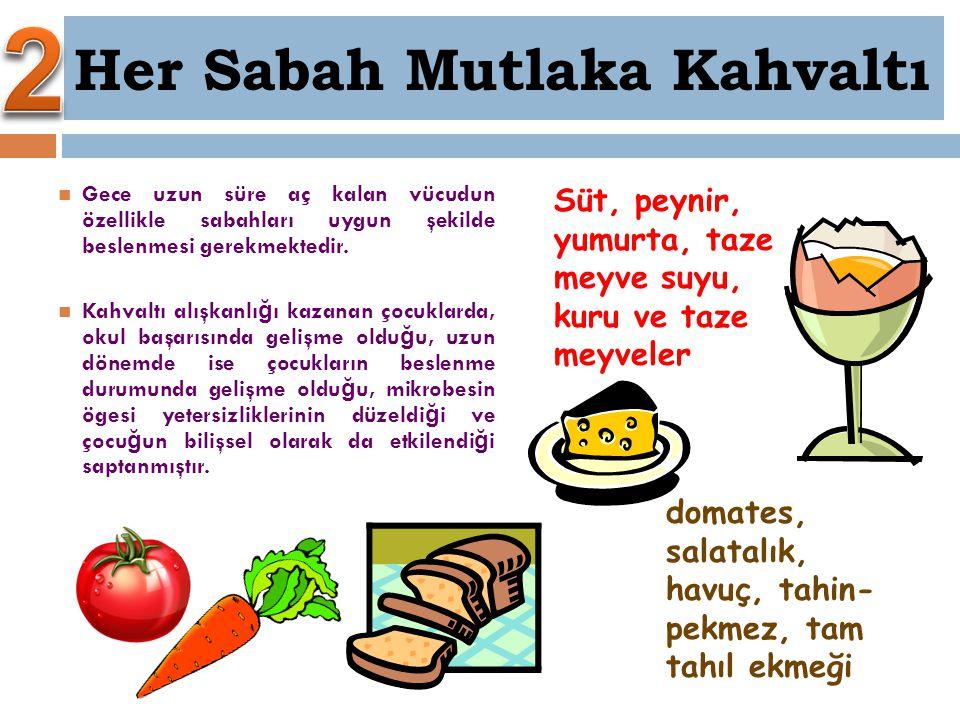 Süt, peynir, yumurta, taze meyve suyu, kuru ve taze meyveler domates, salatalık, havuç, tahin- pekmez, tam tahıl ekmeği Gece uzun süre aç kalan vücudu