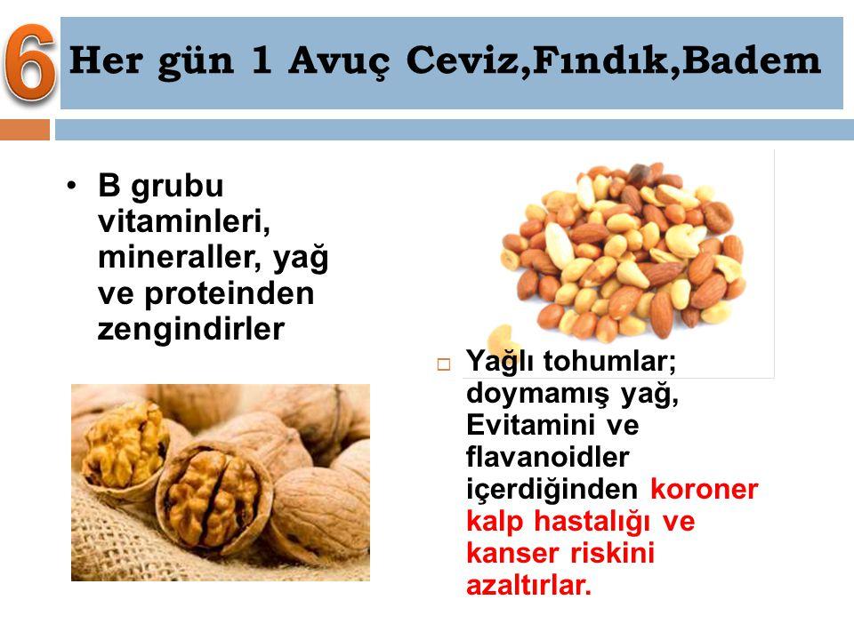 B grubu vitaminleri, mineraller, yağ ve proteinden zengindirler Her gün 1 Avuç Ceviz,Fındık,Badem  Yağlı tohumlar; doymamış yağ, Evitamini ve flavano