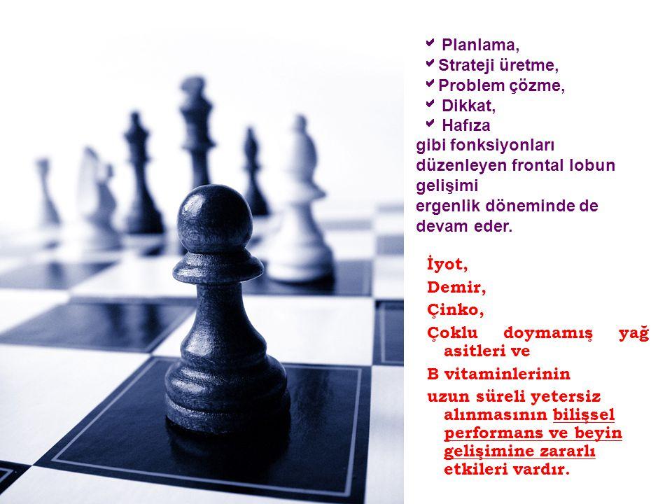  Planlama,  Strateji üretme,  Problem çözme,  Dikkat,  Hafıza gibi fonksiyonları düzenleyen frontal lobun gelişimi ergenlik döneminde de devam ed
