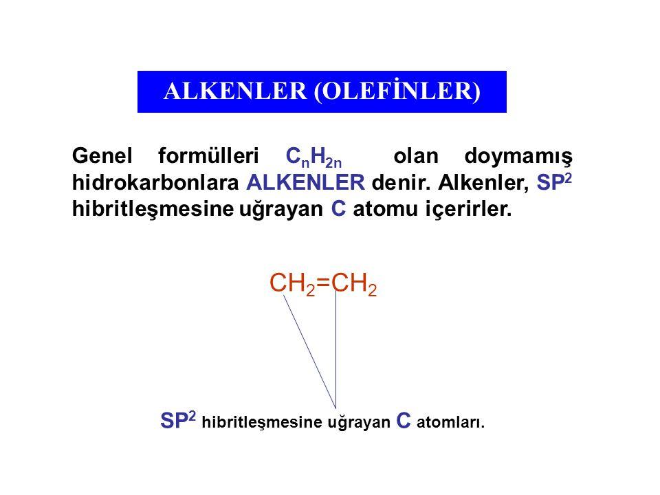 ALKENLERDE İZOMERİ Alkenlerde, C=C çift bağ etrafına bağlanmış gruplar, alkanlarda olduğu gibi serbest dönme hareketi yapamazlar.
