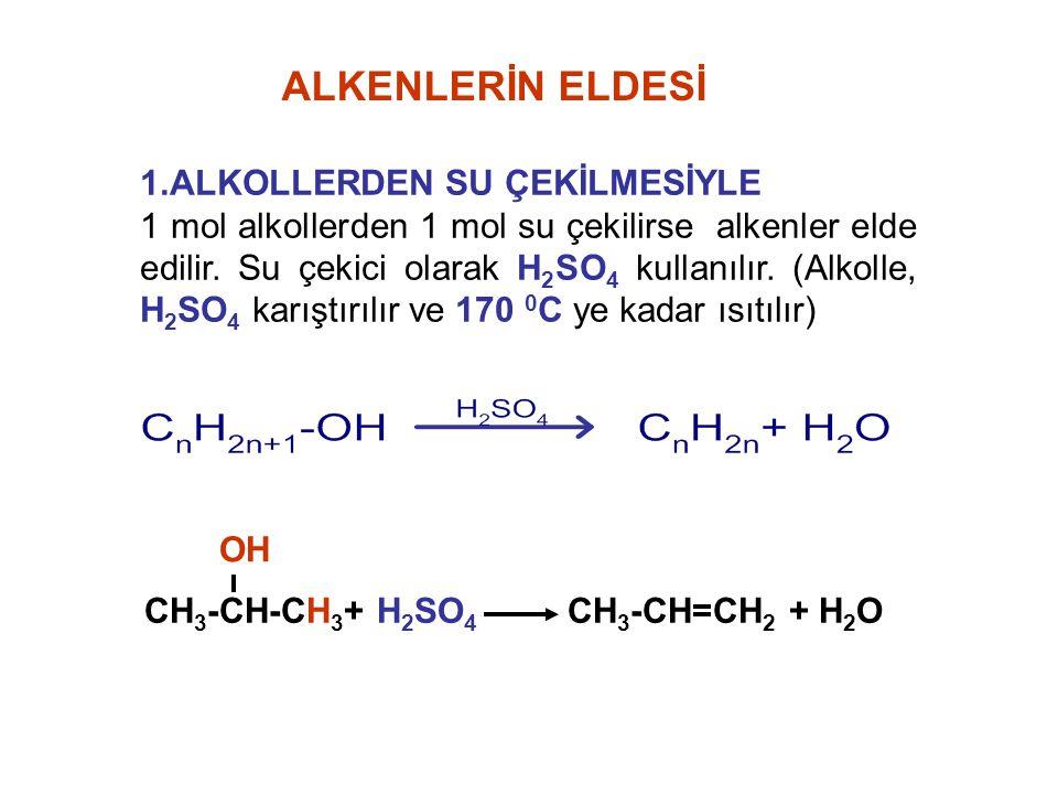 1.ALKOLLERDEN SU ÇEKİLMESİYLE 1 mol alkollerden 1 mol su çekilirse alkenler elde edilir. Su çekici olarak H 2 SO 4 kullanılır. (Alkolle, H 2 SO 4 karı