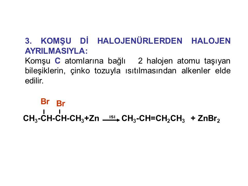 3. KOMŞU Dİ HALOJENÜRLERDEN HALOJEN AYRILMASIYLA: Komşu C atomlarına bağlı 2 halojen atomu taşıyan bileşiklerin, çinko tozuyla ısıtılmasından alkenler