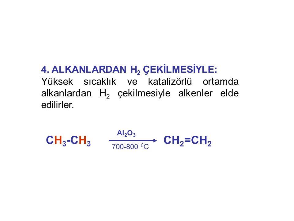 4. ALKANLARDAN H 2 ÇEKİLMESİYLE: Yüksek sıcaklık ve katalizörlü ortamda alkanlardan H 2 çekilmesiyle alkenler elde edilirler. CH 3 -CH 3 CH 2 =CH 2 Al