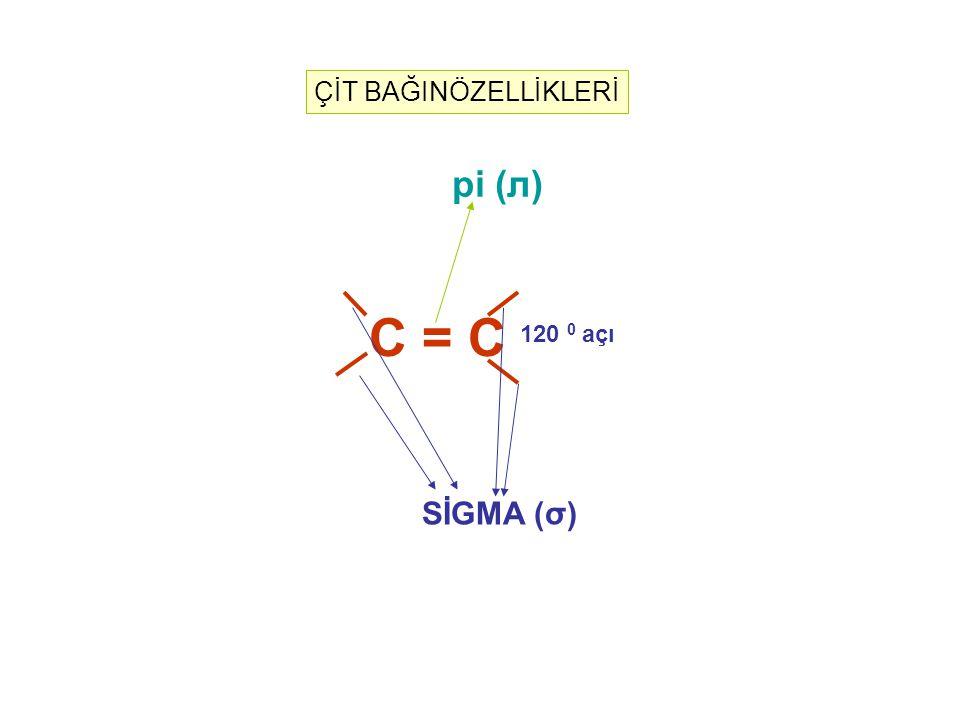 C = C 120 0 açı SİGMA (σ) pi (л) ÇİT BAĞINÖZELLİKLERİ