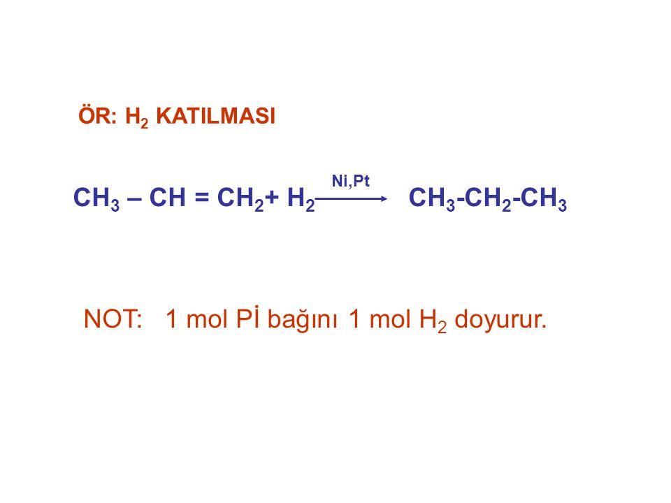 CH 3 – CH = CH 2 + H 2 CH 3 -CH 2 -CH 3 Ni,Pt ÖR: H 2 KATILMASI NOT: 1 mol Pİ bağını 1 mol H 2 doyurur.