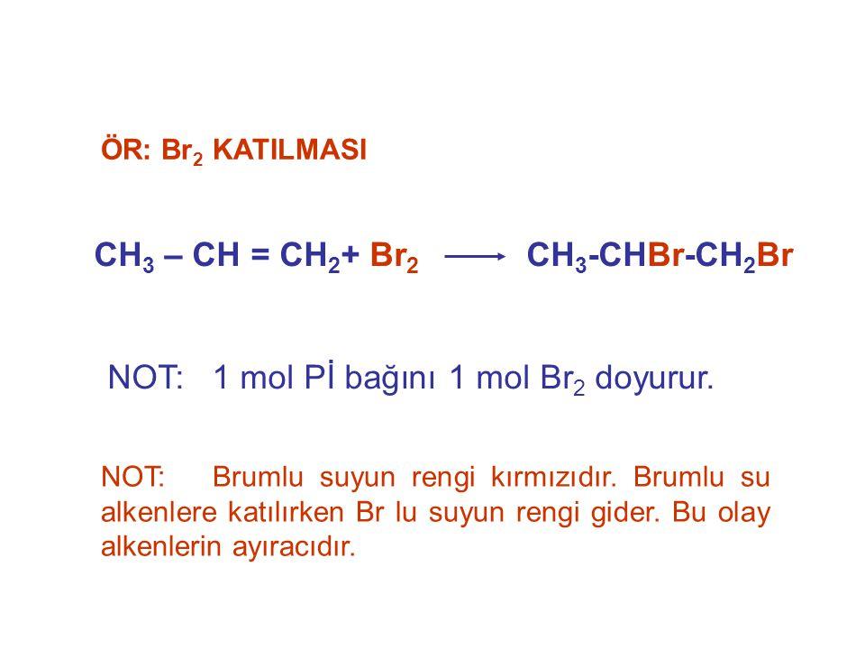 CH 3 – CH = CH 2 + Br 2 CH 3 -CHBr-CH 2 Br ÖR: Br 2 KATILMASI NOT: 1 mol Pİ bağını 1 mol Br 2 doyurur. NOT: Brumlu suyun rengi kırmızıdır. Brumlu su a