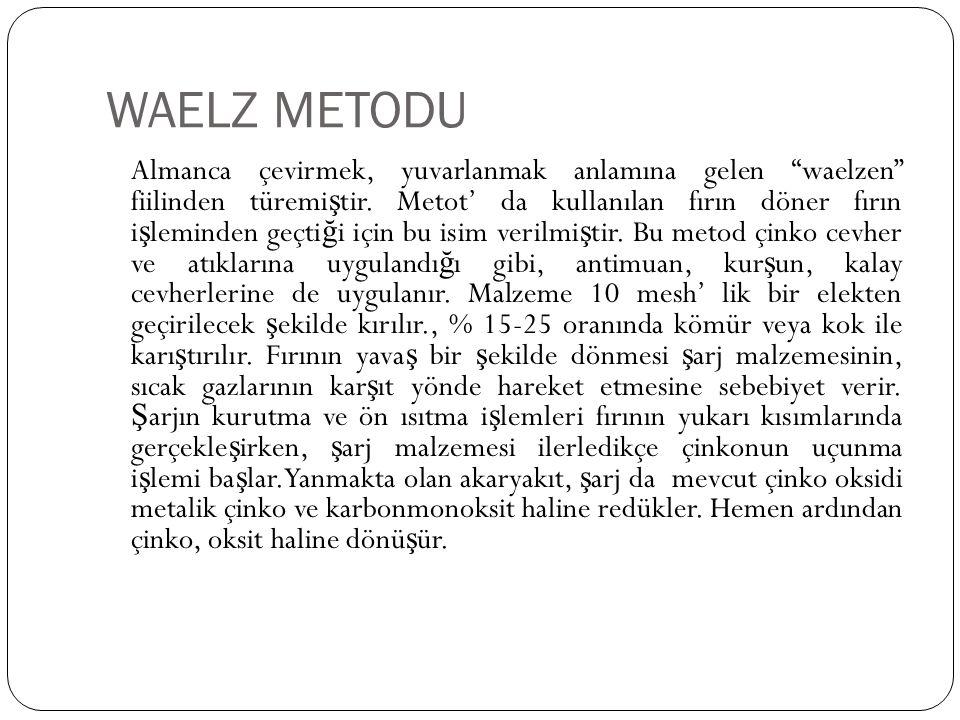 """WAELZ METODU Almanca çevirmek, yuvarlanmak anlamına gelen """"waelzen"""" fiilinden türemi ş tir. Metot' da kullanılan fırın döner fırın i ş leminden geçti"""