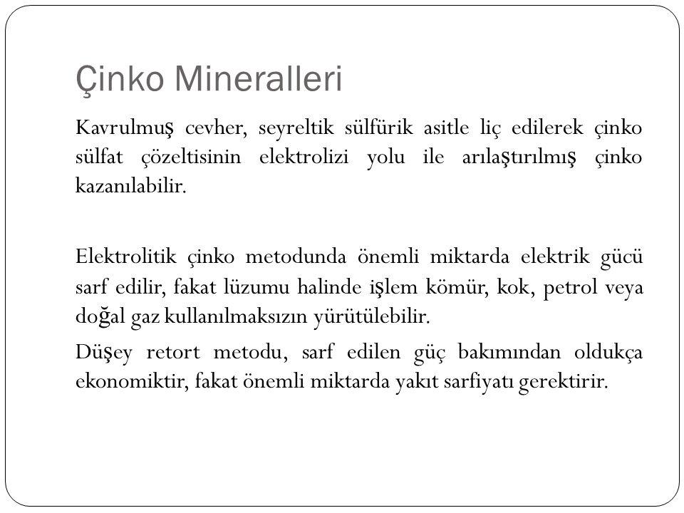 Çinko Mineralleri Kavrulmu ş cevher, seyreltik sülfürik asitle liç edilerek çinko sülfat çözeltisinin elektrolizi yolu ile arıla ş tırılmı ş çinko kaz