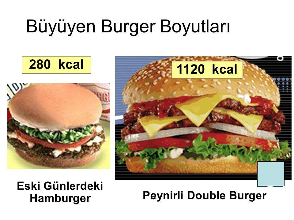 Eski Günlerdeki Hamburger 280 kcal Peynirli Double Burger 1120 kcal Büyüyen Burger Boyutları