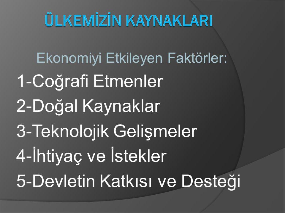 Ekonomiyi Etkileyen Faktörler: 1-Coğrafi Etmenler 2-Doğal Kaynaklar 3-Teknolojik Gelişmeler 4-İhtiyaç ve İstekler 5-Devletin Katkısı ve Desteği
