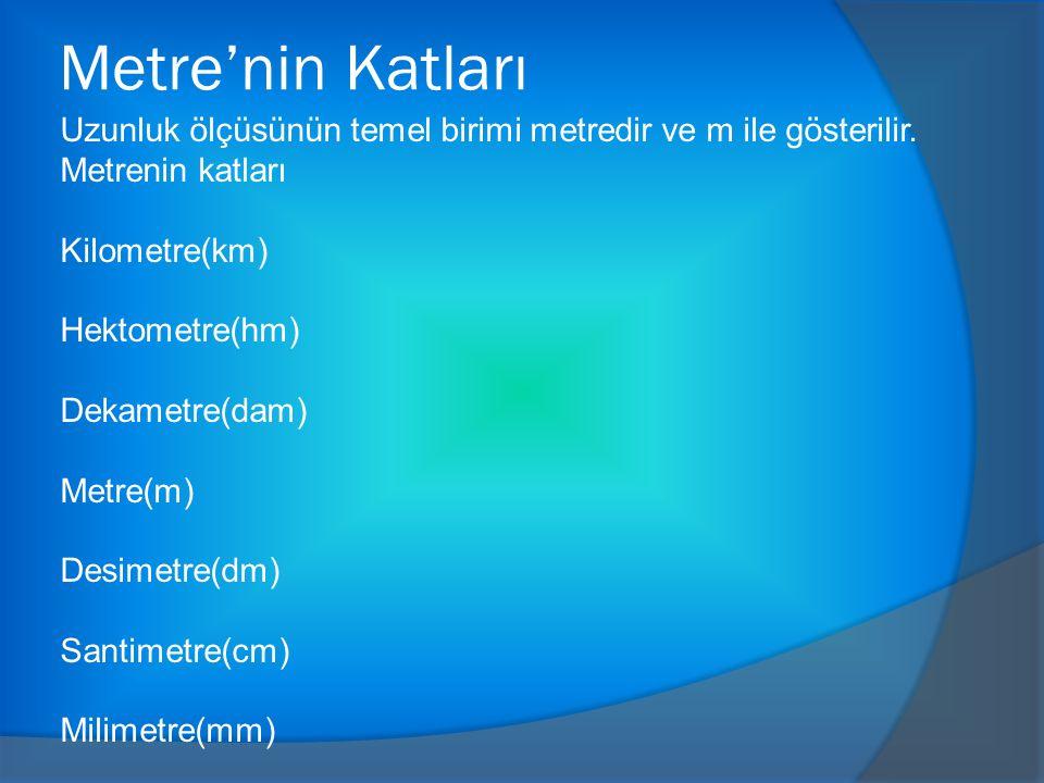 Metre'nin Katları Uzunluk ölçüsünün temel birimi metredir ve m ile gösterilir.