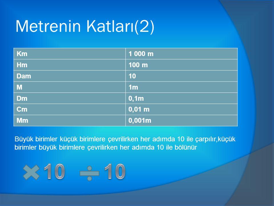 Metrenin Katları(2) Km1 000 m Hm100 m Dam10 M1m Dm0,1m Cm0,01 m Mm0,001m Büyük birimler küçük birimlere çevrilirken her adımda 10 ile çarpılır,küçük birimler büyük birimlere çevrilirken her adımda 10 ile bölünür