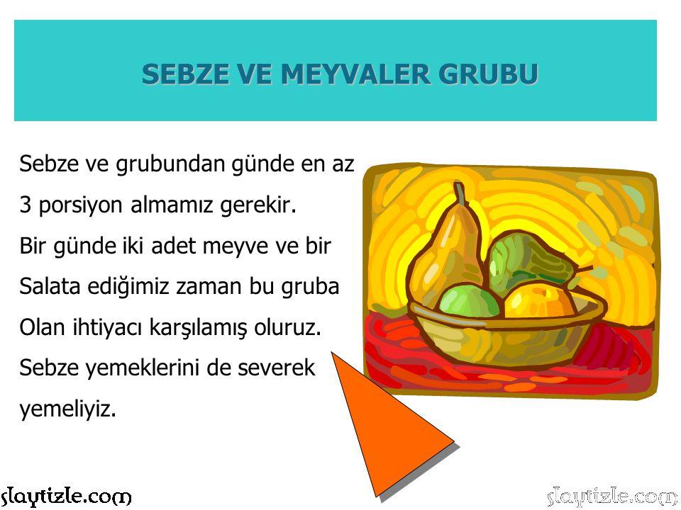 Sebze ve grubundan günde en az 3 porsiyon almamız gerekir. Bir günde iki adet meyve ve bir Salata ediğimiz zaman bu gruba Olan ihtiyacı karşılamış olu