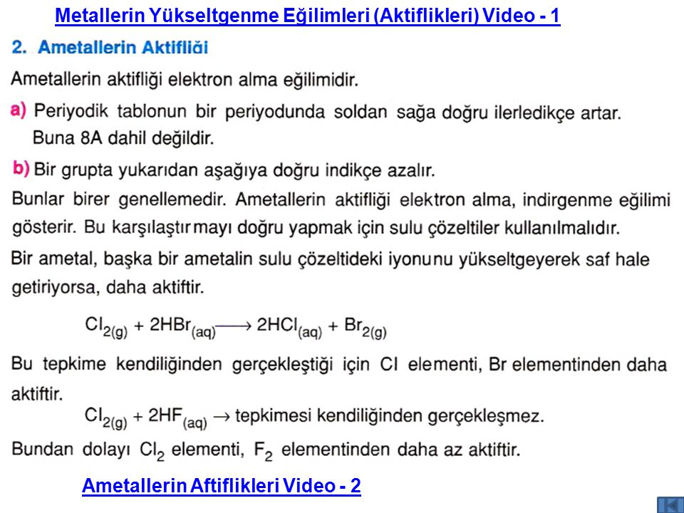 Metallerin Yükseltgenme Eğilimleri (Aktiflikleri) Video - 1 Ametallerin Aftiflikleri Video - 2