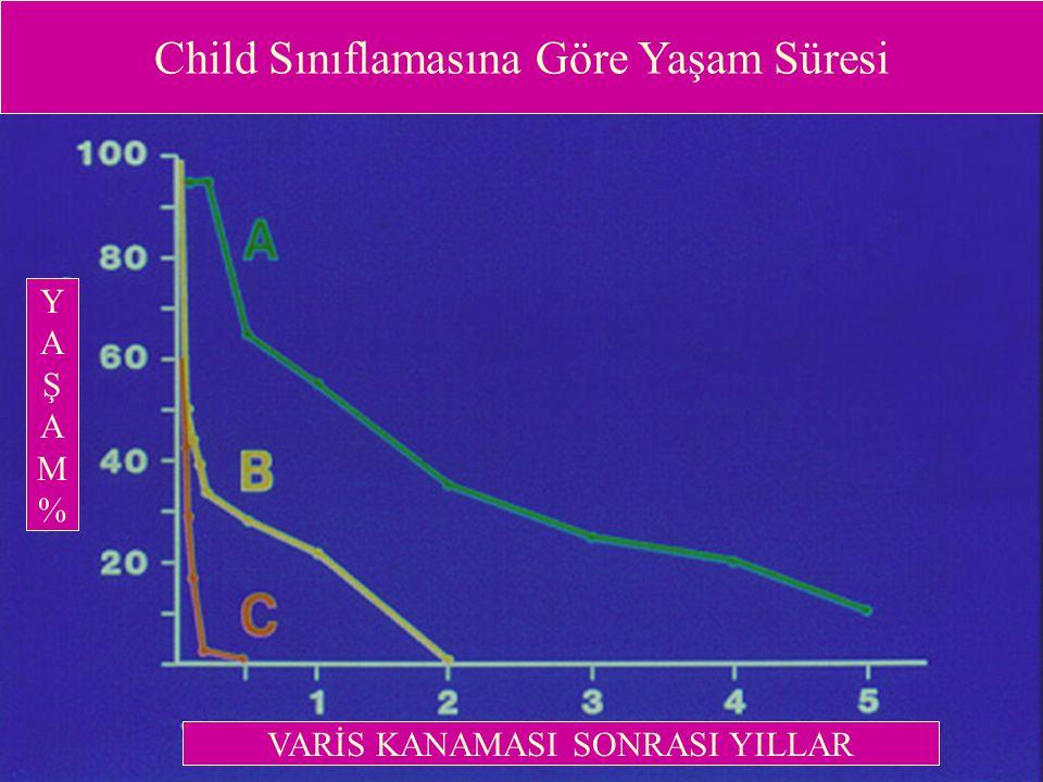 Child Sınıflamasına Göre Yaşam Süresi YAŞAM%YAŞAM% VARİS KANAMASI SONRASI YILLAR