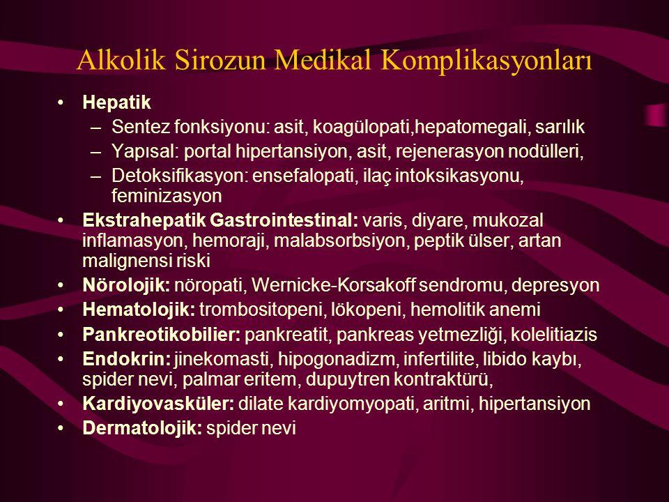 Alkolik Sirozun Medikal Komplikasyonları Hepatik –Sentez fonksiyonu: asit, koagülopati,hepatomegali, sarılık –Yapısal: portal hipertansiyon, asit, rej