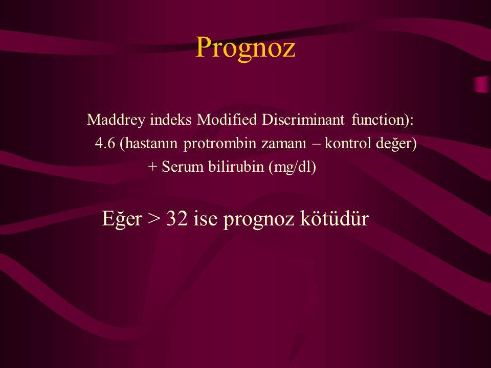 Prognoz Maddrey indeks Modified Discriminant function): 4.6 (hastanın protrombin zamanı – kontrol değer) + Serum bilirubin (mg/dl) Eğer > 32 ise progn