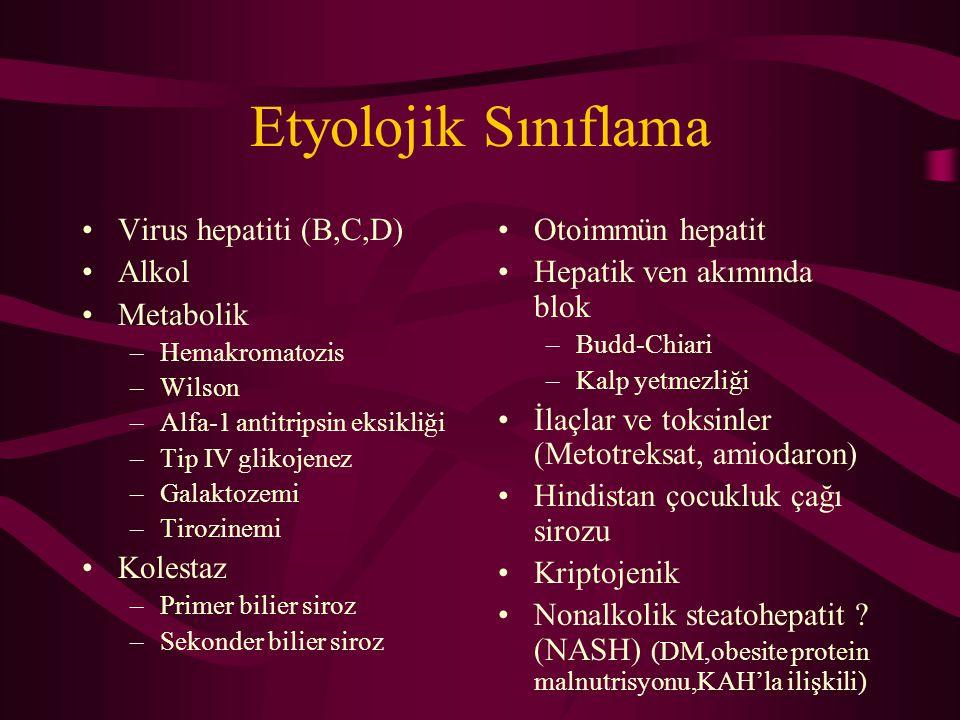 Etyolojik Sınıflama Virus hepatiti (B,C,D) Alkol Metabolik –Hemakromatozis –Wilson –Alfa-1 antitripsin eksikliği –Tip IV glikojenez –Galaktozemi –Tiro
