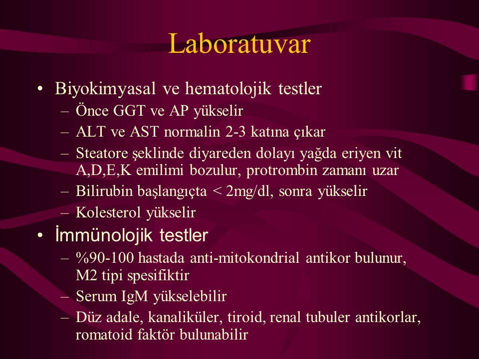 Laboratuvar Biyokimyasal ve hematolojik testler –Önce GGT ve AP yükselir –ALT ve AST normalin 2-3 katına çıkar –Steatore şeklinde diyareden dolayı yağ