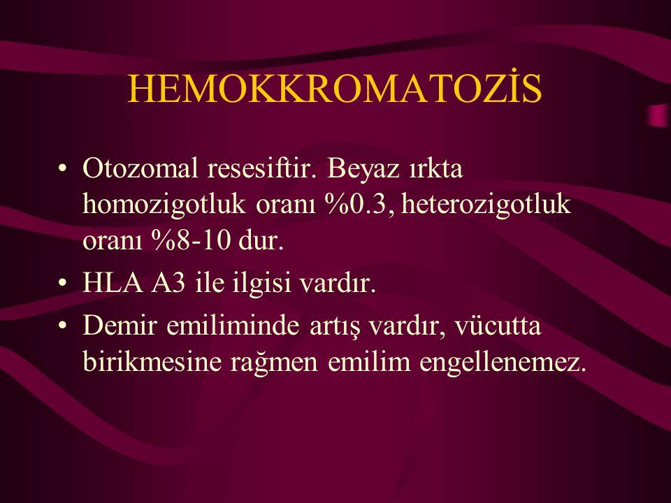 HEMOKKROMATOZİS Otozomal resesiftir. Beyaz ırkta homozigotluk oranı %0.3, heterozigotluk oranı %8-10 dur. HLA A3 ile ilgisi vardır. Demir emiliminde a