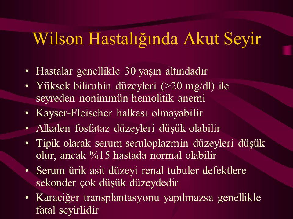 Wilson Hastalığında Akut Seyir Hastalar genellikle 30 yaşın altındadır Yüksek bilirubin düzeyleri (>20 mg/dl) ile seyreden nonimmün hemolitik anemi Ka