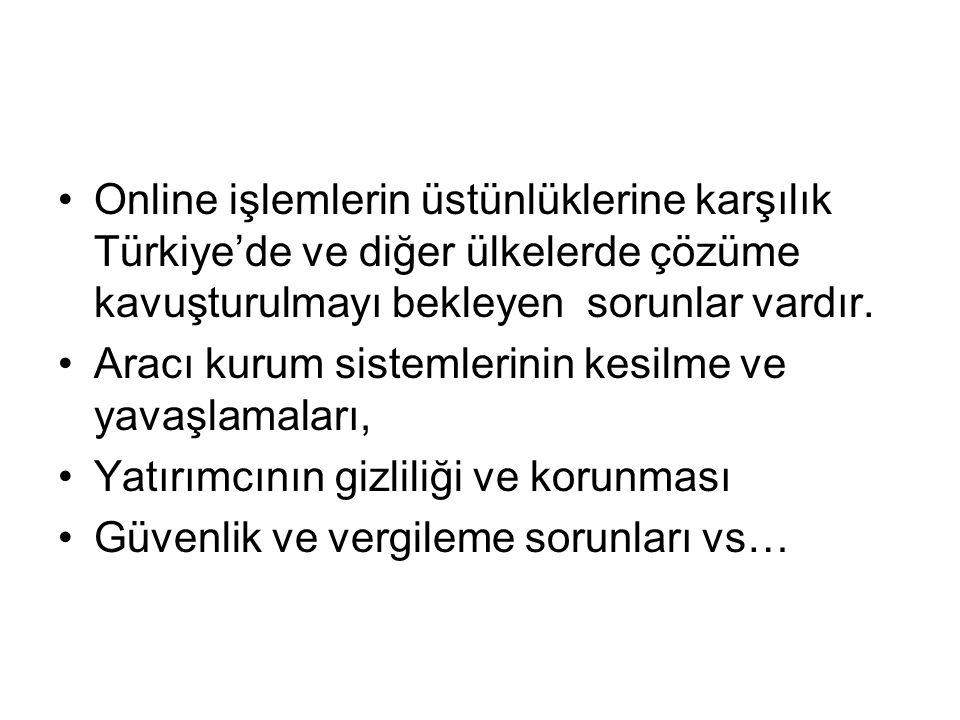 Online işlemlerin üstünlüklerine karşılık Türkiye'de ve diğer ülkelerde çözüme kavuşturulmayı bekleyen sorunlar vardır.