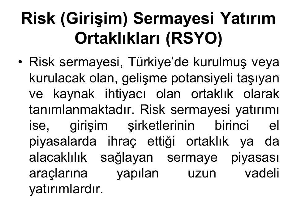 Risk (Girişim) Sermayesi Yatırım Ortaklıkları (RSYO) Risk sermayesi, Türkiye'de kurulmuş veya kurulacak olan, gelişme potansiyeli taşıyan ve kaynak ihtiyacı olan ortaklık olarak tanımlanmaktadır.