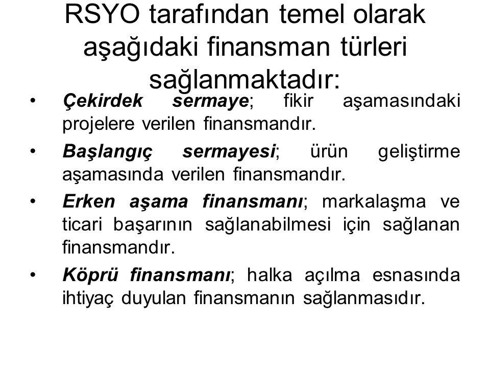 RSYO tarafından temel olarak aşağıdaki finansman türleri sağlanmaktadır: Çekirdek sermaye; fikir aşamasındaki projelere verilen finansmandır.