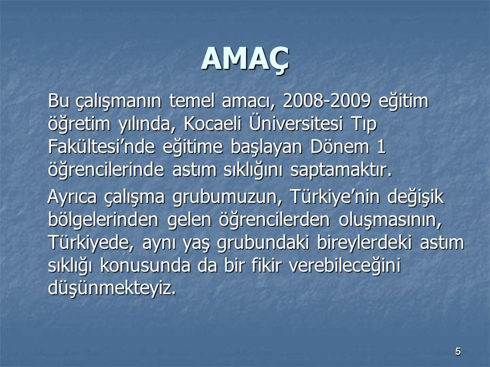 5 AMAÇ Bu çalışmanın temel amacı, 2008-2009 eğitim öğretim yılında, Kocaeli Üniversitesi Tıp Fakültesi'nde eğitime başlayan Dönem 1 öğrencilerinde ast