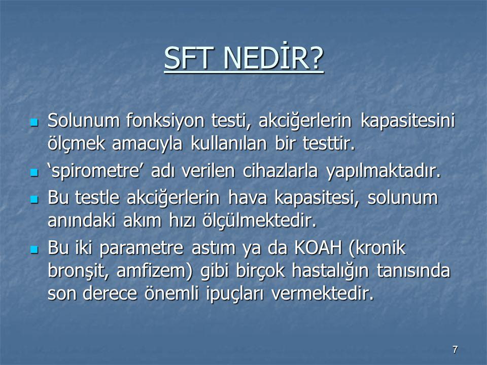 7 SFT NEDİR? Solunum fonksiyon testi, akciğerlerin kapasitesini ölçmek amacıyla kullanılan bir testtir. Solunum fonksiyon testi, akciğerlerin kapasite