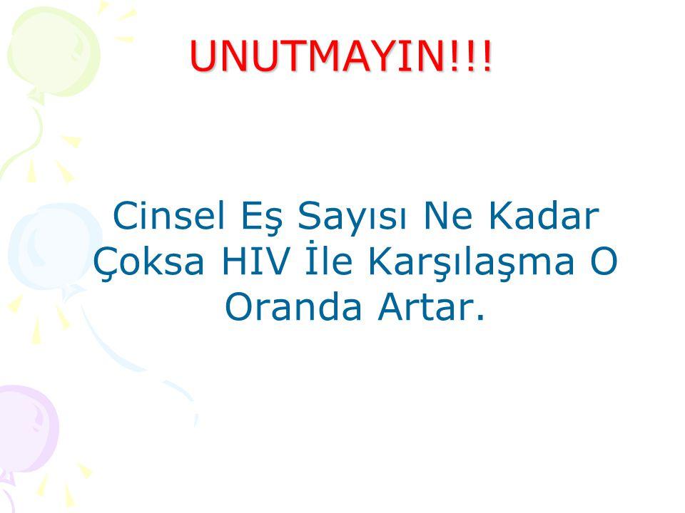 UNUTMAYIN!!! Cinsel Eş Sayısı Ne Kadar Çoksa HIV İle Karşılaşma O Oranda Artar.