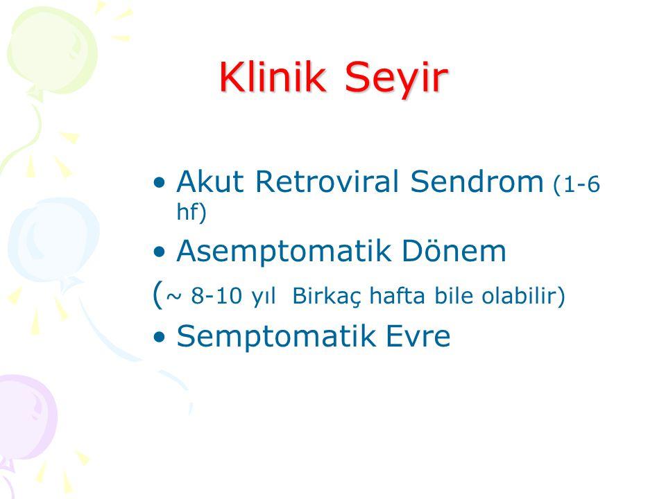 Klinik Seyir Akut Retroviral Sendrom (1-6 hf) Asemptomatik Dönem ( ~ 8-10 yıl Birkaç hafta bile olabilir) Semptomatik Evre