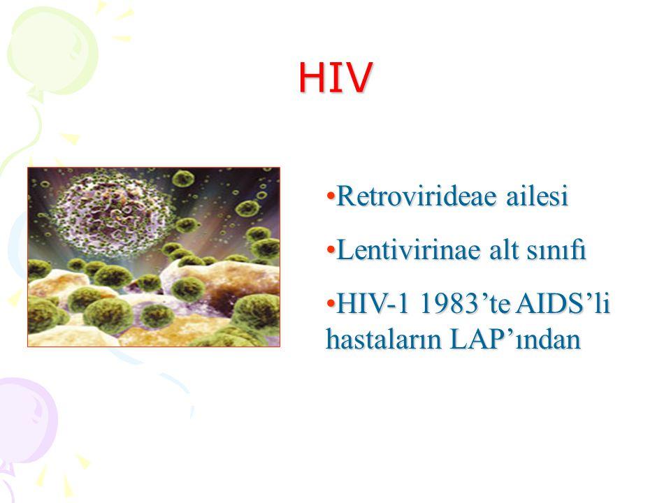 HIV Retrovirideae ailesiRetrovirideae ailesi Lentivirinae alt sınıfıLentivirinae alt sınıfı HIV-1 1983'te AIDS'li hastaların LAP'ındanHIV-1 1983'te AIDS'li hastaların LAP'ından