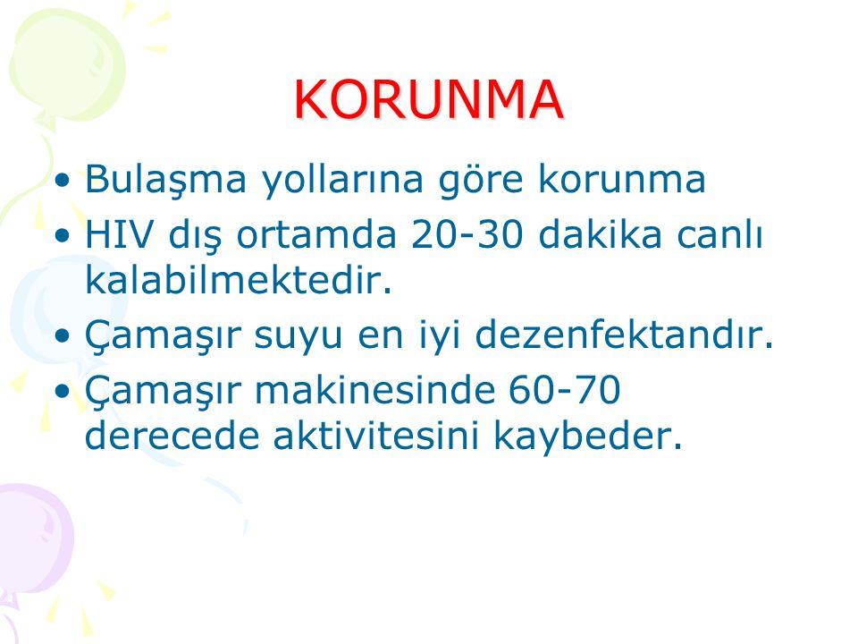 KORUNMA Bulaşma yollarına göre korunma HIV dış ortamda 20-30 dakika canlı kalabilmektedir.
