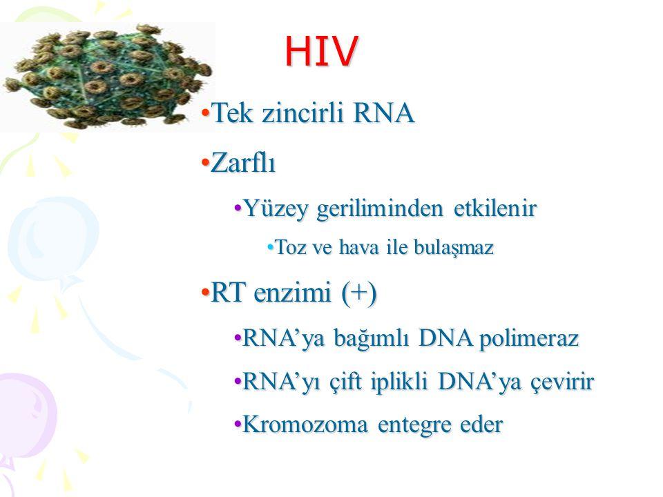 HIV Tek zincirli RNATek zincirli RNA ZarflıZarflı Yüzey geriliminden etkilenirYüzey geriliminden etkilenir Toz ve hava ile bulaşmazToz ve hava ile bulaşmaz RT enzimi (+)RT enzimi (+) RNA'ya bağımlı DNA polimerazRNA'ya bağımlı DNA polimeraz RNA'yı çift iplikli DNA'ya çevirirRNA'yı çift iplikli DNA'ya çevirir Kromozoma entegre ederKromozoma entegre eder