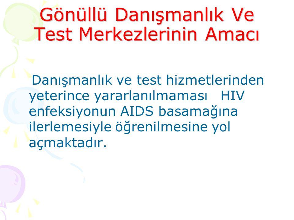 Danışmanlık ve test hizmetlerinden yeterince yararlanılmaması HIV enfeksiyonun AIDS basamağına ilerlemesiyle öğrenilmesine yol açmaktadır.